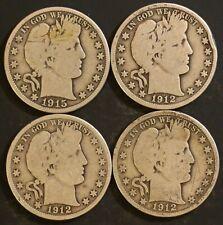 Circulated Barber Half Dollar Coin Lot (4) -  1912,1912D,1912S,1915S - Lot BH8