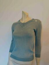 Prue Acton Green Striped Jumper With Beaded Trim - 1970s