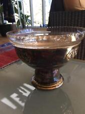 ANTIQUE NORWEGIAN SILVER & CRYSTAL CUT GLASS FOOTED COMPOTE FROM NORWAY