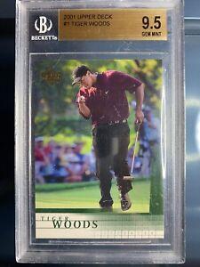2001 Upper Deck Tiger Woods #1 Rookie Card RC BGS 9.5 Gem Mint Scratched Case
