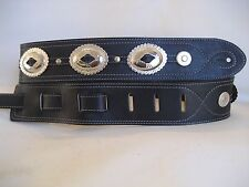 LEATHER BLACK BIG SILVER CONCHO BASS GUITAR STRAP