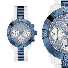 GUESS W0741L2 Spotlight Weiß Blau Kunstharz Armband Damenuhr Chrono Armbanduhr