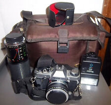 Vintage Olympus OM G camera, lens, zoom lens, flash & camera bag, good shape