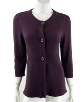 Ann Taylor Cardigan Sweater Medium Purple Solid Button Up 3/4 Sleeve Womens