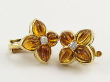 Boucheron 18K Oro Diamante Pendientes de Flor & Citrino * Wow *