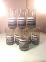 8 Vintage Anchor Hocking 4 shades of bluesColored Stripe Drinking Glass Tumblers
