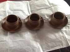 More details for 3 retro stoneware cups & saucers