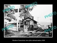 OLD LARGE HISTORIC PHOTO OF WOODROW CONNECTICUT THE RAILROAD DEPOT c1920