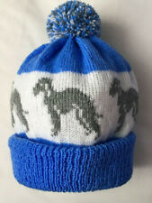 More details for bedlington terrier new knitted on adult size hat. mid blue with grey dog