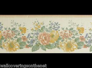 Floral Design, Solid Vinyl  Wallpaper Border (17.5cm x 4.57m) (patern no 02528B)