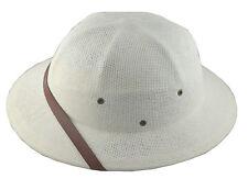 MM Summer 100% Straw Pith Helmet Postman Hat White