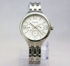 New Fossil BQ3126 Modern Courier Chronograph Silver Stainless Women Watch