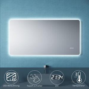 Badspiegel LED mit Beleuchtung Touch Uhr Temperatur 120x60 Spiegel Wandspiegel