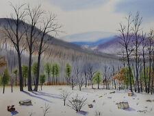 Mountain 9, Winter, Landscape, Original Watercolor Painting, Signed, Art