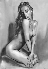 original drawing A3 330ShA art samovar watercolor grisaille female nude 2020