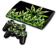 PS3 Playstation 3 Super Slim Skin Design Sticker Screen Protector Set - Cannabis