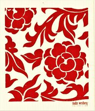 "Swedish Dish Cloth ""Red Coli Flower"" Made in Sweden, Malin Westberg 6.75"" X 8"""