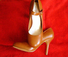 "SEXY CLASSIFIED TAN MARY JANES 4"" BABY DOLL STILETTO HEEL SHOES  SIZE 7   NIB"
