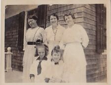 Old Antique Photograph Three Women & Two Girls All Dressed In White