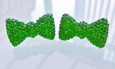 Small Sparkly Green Bow Crystal Diamante Diamond Stud Earrings