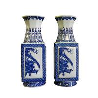 Pair Chinese Blue & White Porcelain Scenery Square Vases cs694-7