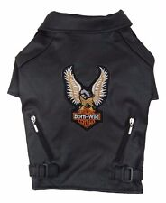 Dog PU Leather Black Motorcycle Jacket | Size XXS | Coat Jumper | Pet Clothing