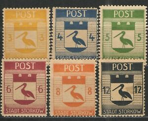 Germany - Storkow Locals 1946 Mi# 9-15 MNH/HR VG - Scarce Storkow locals set