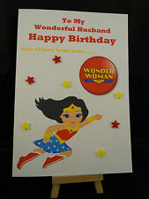 Personalised Hand Made Wonderwomen Birthday Card- Husband, Boyfriend