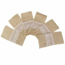 Natural Hessian Burlap Lace Cutlery Holder Pouch Rustic Wedding Tableware X6