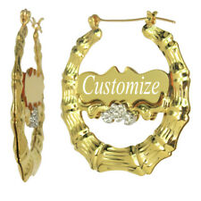 Personalized Gold Bamboo Hoop Earrings with Name 1.9 inches Custom Any Name