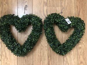 2x Artificial Topiary Wreath Heart Shaped Wedding Garden Hanging Wreaths