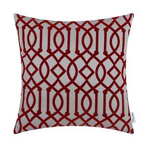 CaliTime Cushion Covers Throw Pillow Cases Flocking Geometric Trellis Chain 45cm