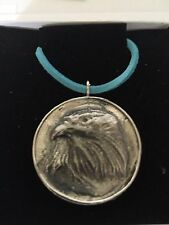 """Eagle On Disc TG69 Made In Solid Fine English Pewter On 18"""" Blue Cord Necklace"""