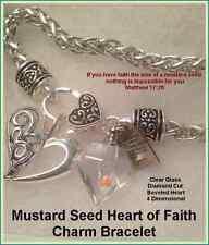 Religious Jewelry Mustard Seed Charm Bracelet Glass Heart
