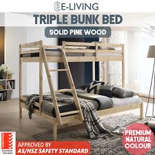 E-LIVING Furniture Natural Solid Timber Triple Bunk Bed Frame