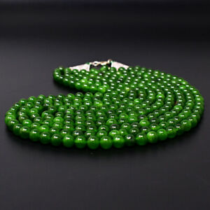 1107 Cts Earth Mined 5 Strand Green Jade Round Shape Beads Necklace JK 03E290