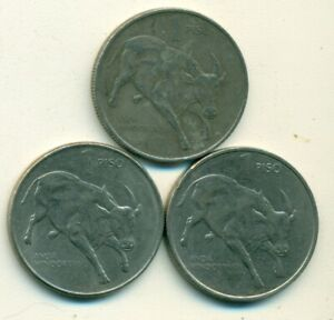 3 DIFFERENT 1 PISO COINS w/ BULL from the PHILIPPINES (1988, 1989 & 1990)