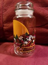 MICKEY MOUSE & FRIENDS HOLIDAY/CHRISTMAS ~1 QT./1 LITER GLASS CONTAINER with lid
