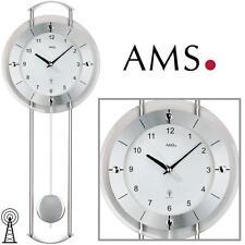 AMS Wanduhr 5254 Funk Pendeluhr Mineralglas Aluminiumfrontreif, facettiert
