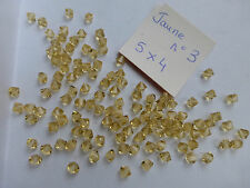 lot 120 perle anciennes en cristal forme toupie bicône jaune 5 x 4 mm n°3