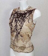 PRINCIPLES sheer Beige brown velvet Sleeveless high Crew neck fitted blouse 12