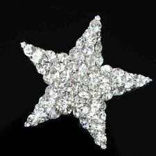 Clear Glass Rhinestone for Bridal Hot Gorgeous Stunning Star Brooch Pin Pendant