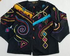 Allure Black 80s Fabulous Cotton Rayon Embellished Long Sleeve Women Jacket R6