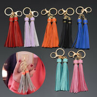 Women's Leather Tassel Fringe Keychain Key Rings Ladies Bag Car Charm Pendant