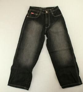Southpole Boys Wide Leg Jeans Size 8 Black Whiskered Denim Streetwear
