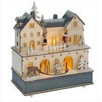 Mid West Wood Lighted LED Bavarian Christmas House Scene Music Box