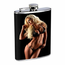 Rock & Roll Pin Up Girls D3 Flask 8oz Stainless Steel Hip Drinking Whiskey