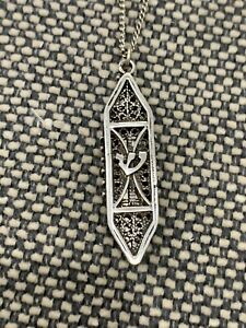 Vintage Israel Sterling Silver Judaica Pendant Necklace w/ Hebrew Letter Shin