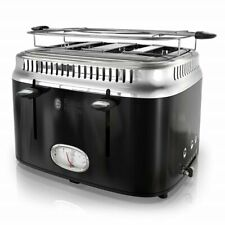 Russel Hobbs | Retro 4-Slice Black & Stainless Toaster with Timer | Tr9250Bkr