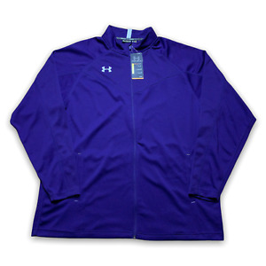 Under Armour Men's Fitch Campus Warm-Up Purple Jacket Full Zip Loose Sz 3XL New